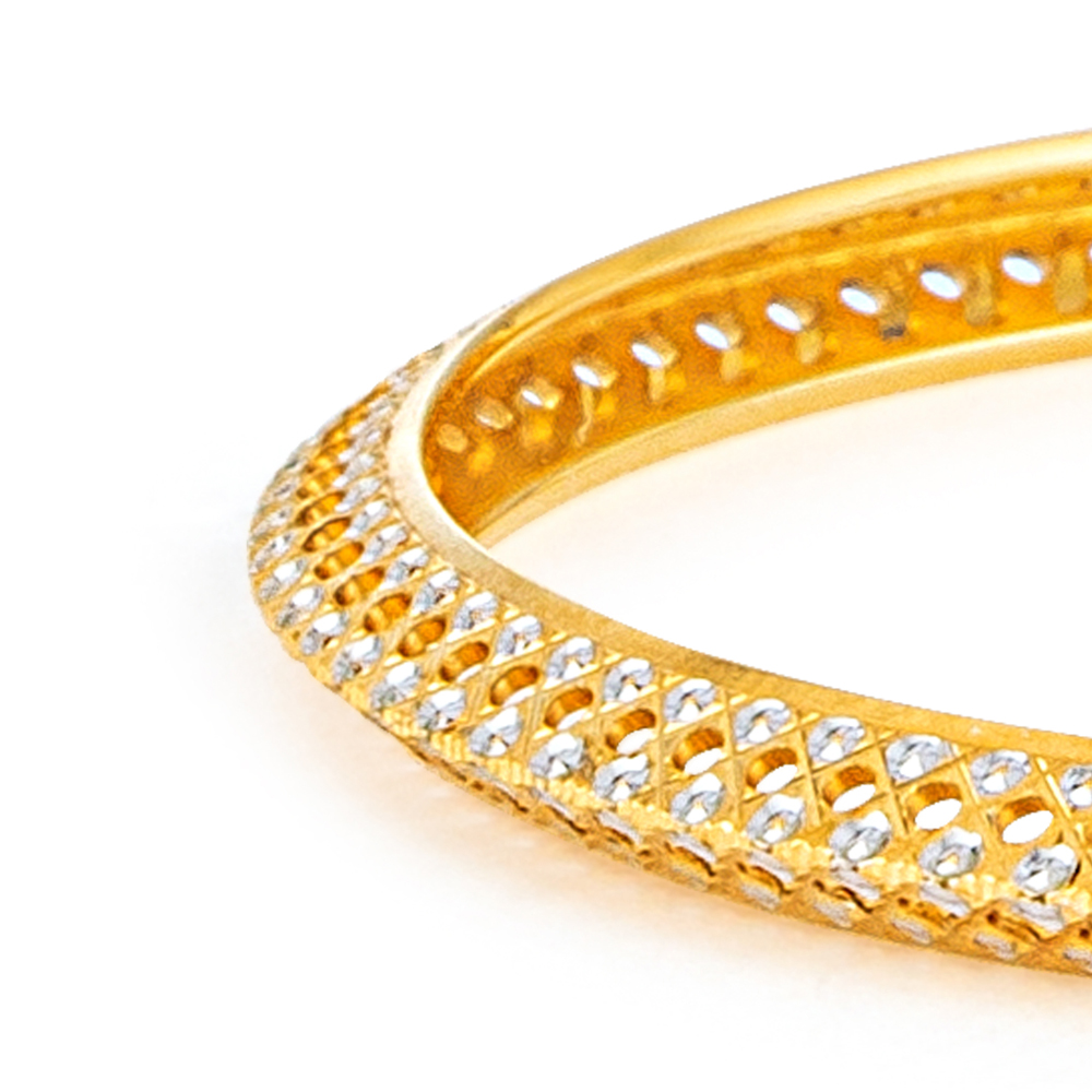 22ct Gold Medium V Shaped Rhodium plated Bangles YGBG020