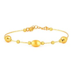 22ct Gold Ladies Bracelet Wired Ball YGBR107