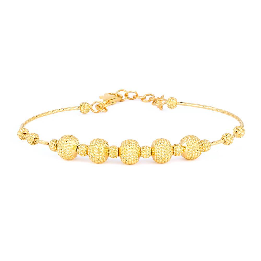 22ct Gold Ladies Bracelet Wired Ball YGBR106
