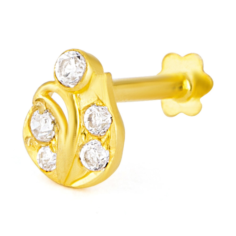 18ct Yellow Gold White CZ Stone with Screw Back Nose Pin YGNP064
