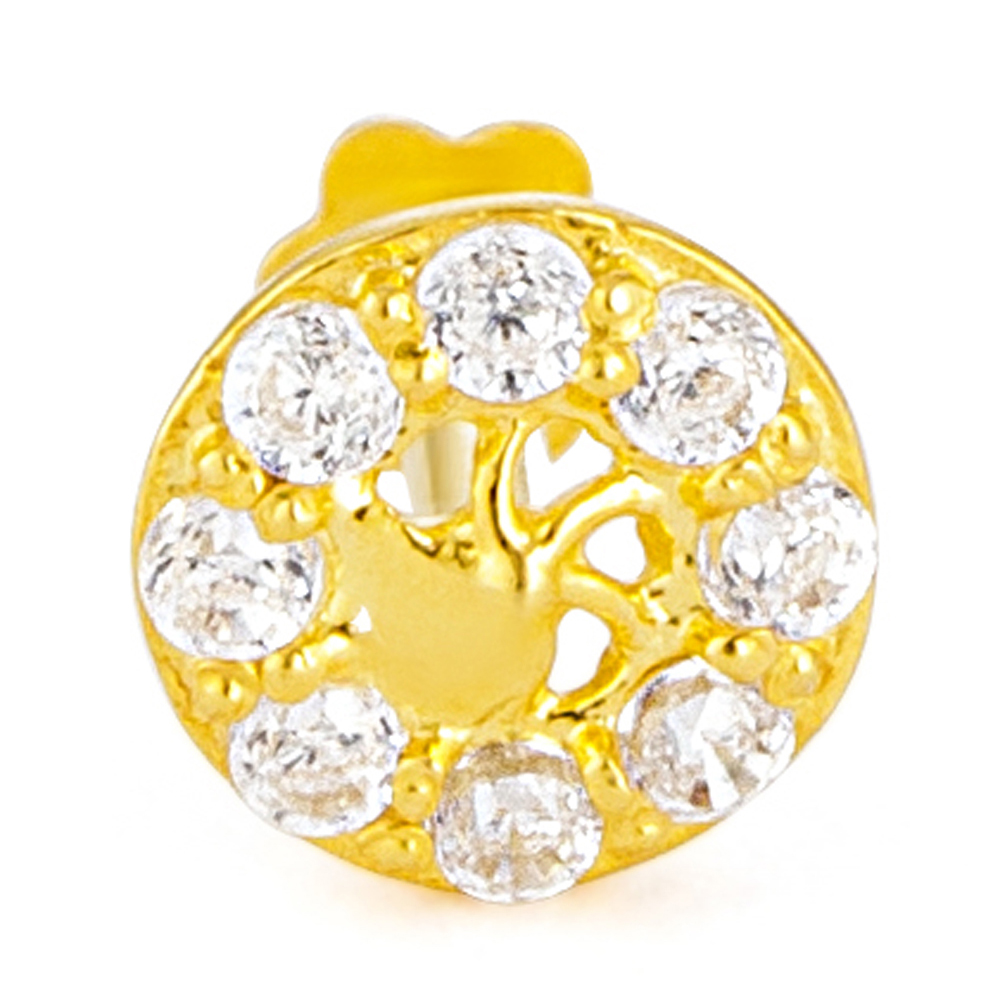 18ct Yellow Gold White CZ Stone with Screw Back Nose Pin YGNP065