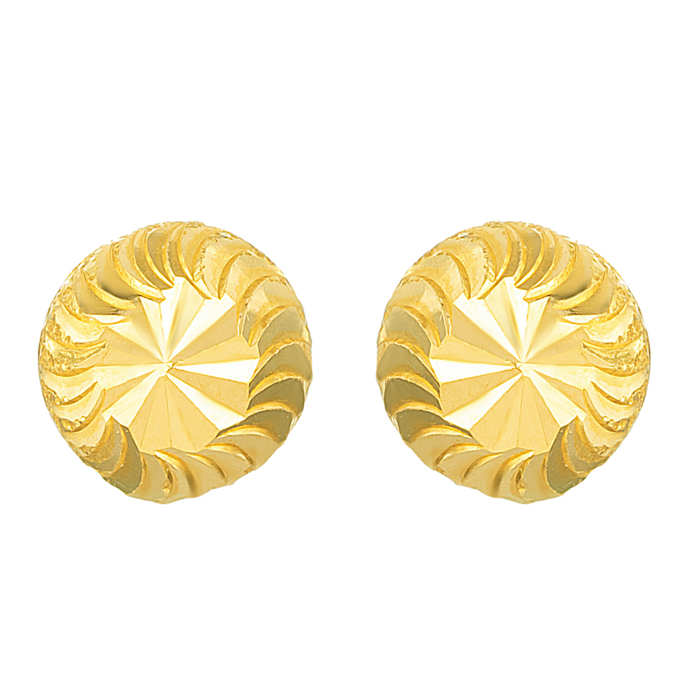 22ct Gold Round Shaped Earring Stud YGER126
