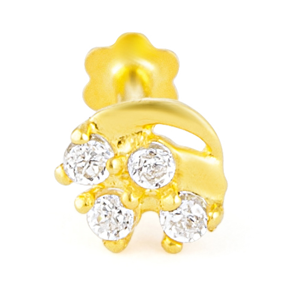 18ct Yellow Gold White CZ Stone with Screw Back Nose Pin YGNP061