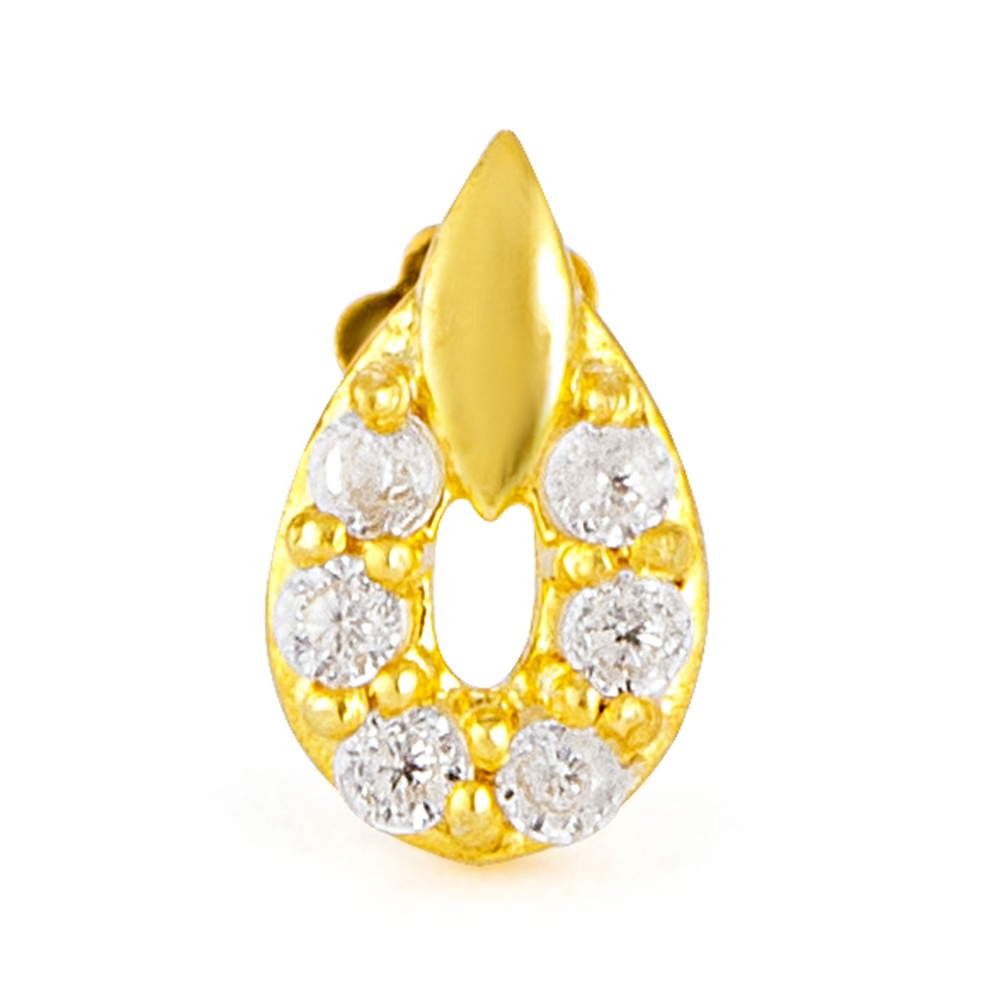 18ct Yellow Gold White CZ Stone with Screw Back Nose Pin YGNP063