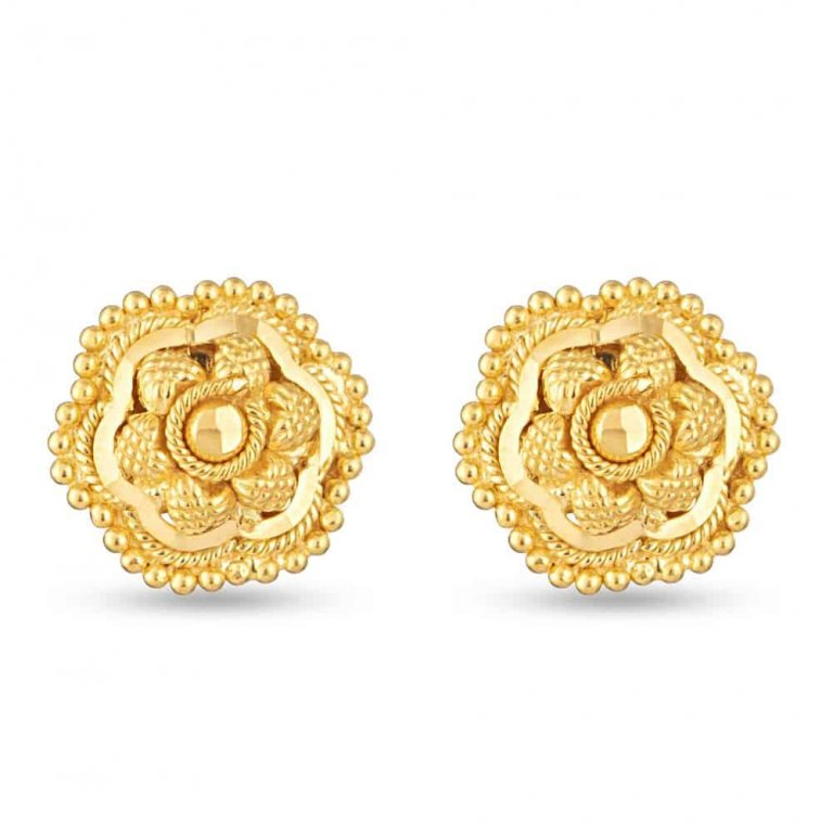 22Kt  Yellow Gold Filigree Stud Earring