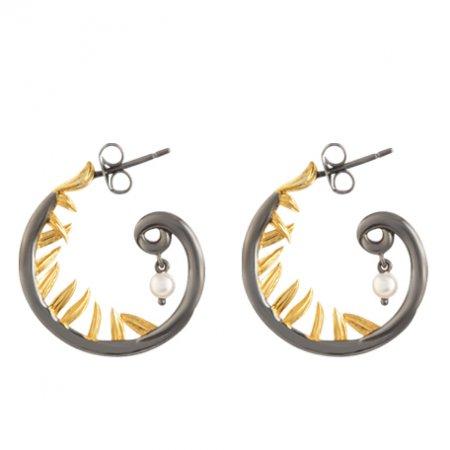 Baroque Artemisia Sterling Silver Hoop Pearl Earring