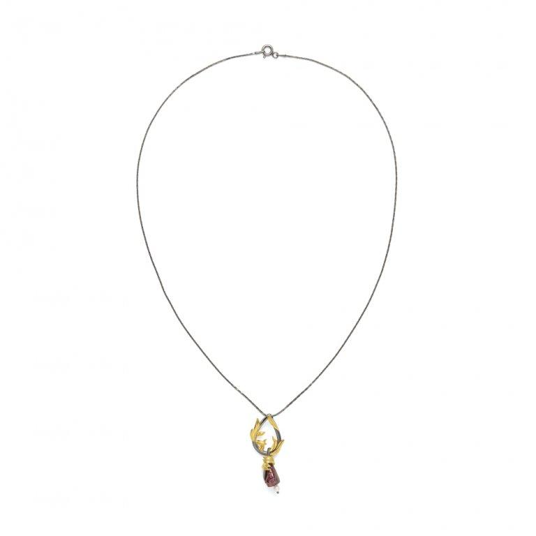 Baroque Artemisia Sterling Silver Garnet Necklace