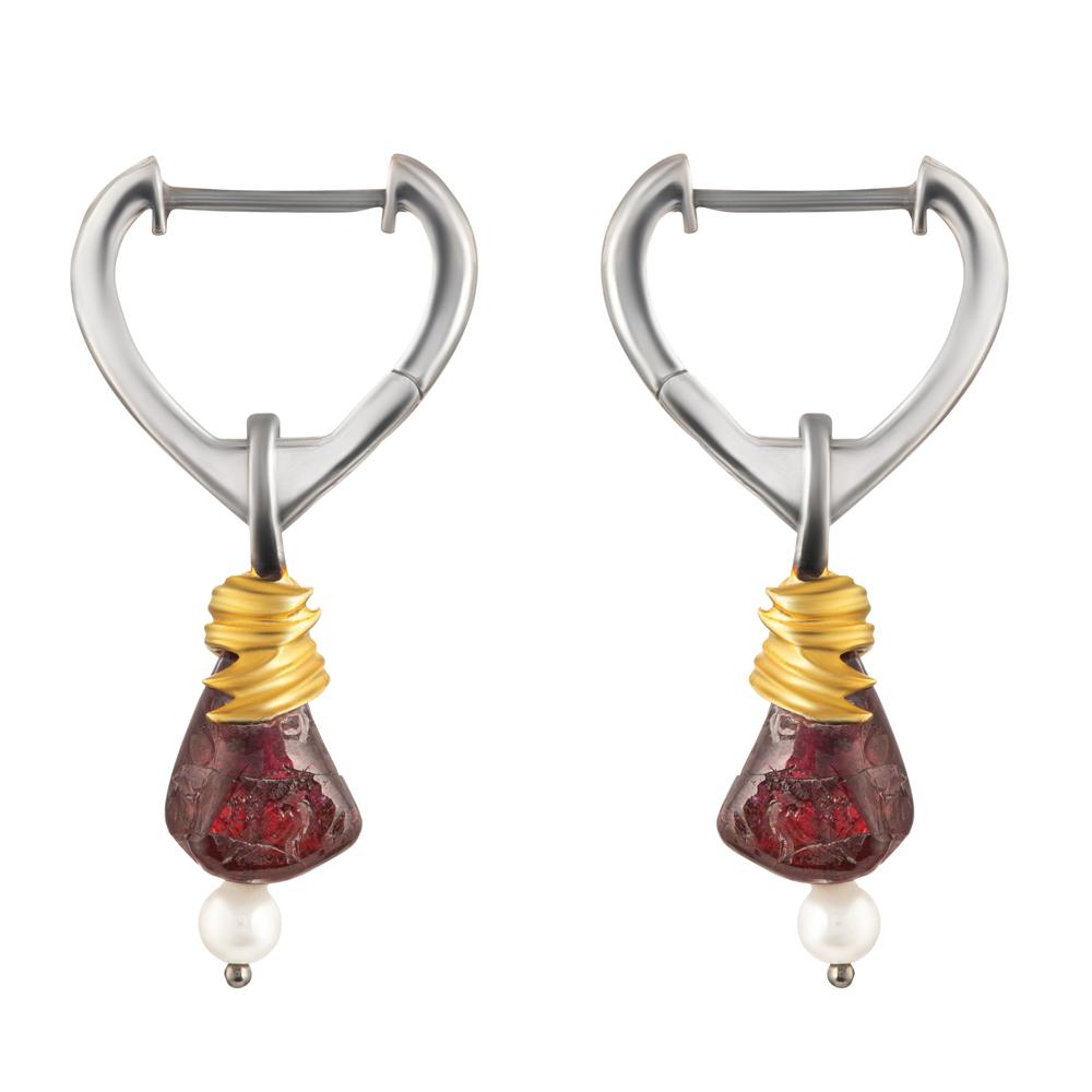 Baroque Artemisia Sterling Silver Drop Garnet Earring NGE002