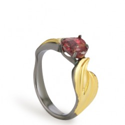 Baroque Artemisia Sterling Silver Garnet Ring