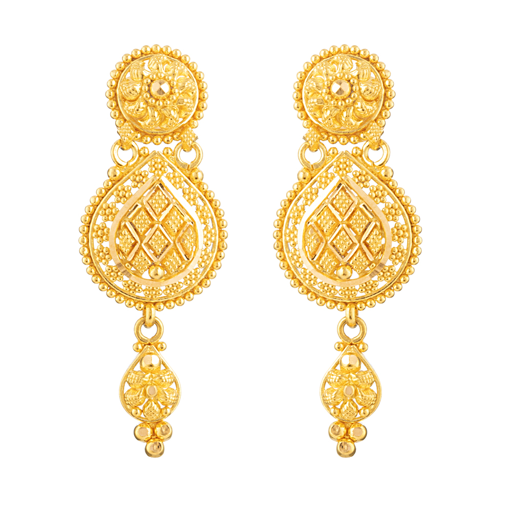 Jali Collection 22ct Gold Earring Flat JLER140