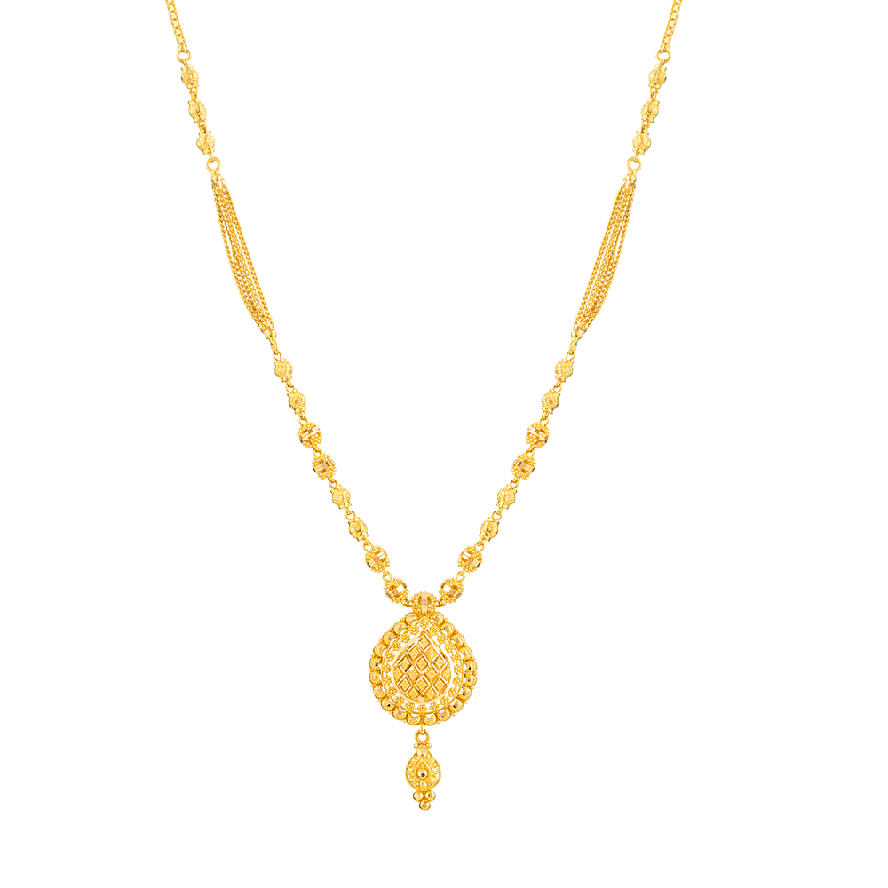 Jali Collection 22ct Gold Necklace Chain/Mala with a Drop Pendant JLNC401
