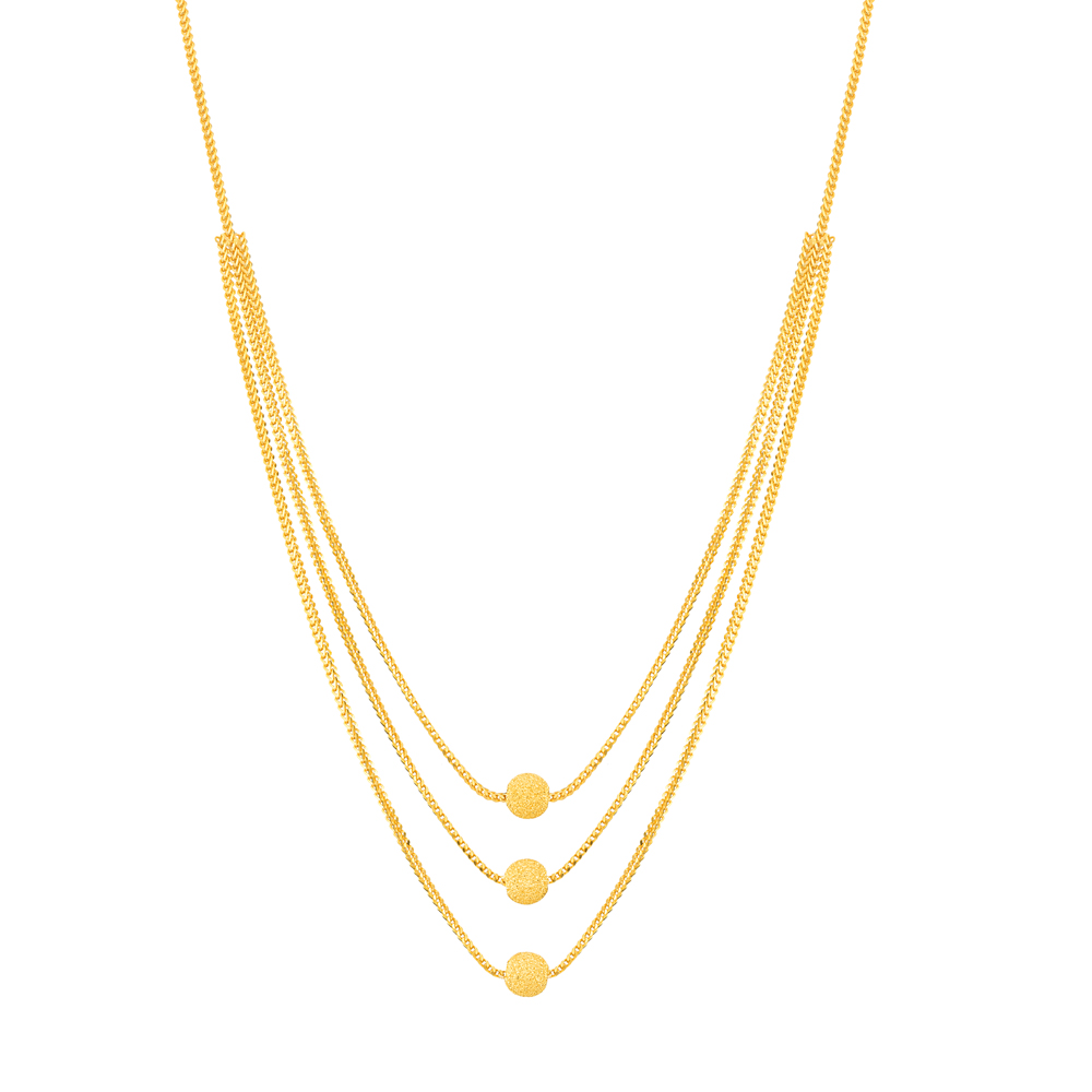 22ct Gold Triple Chain with Rhodium balls Choker YGCK063
