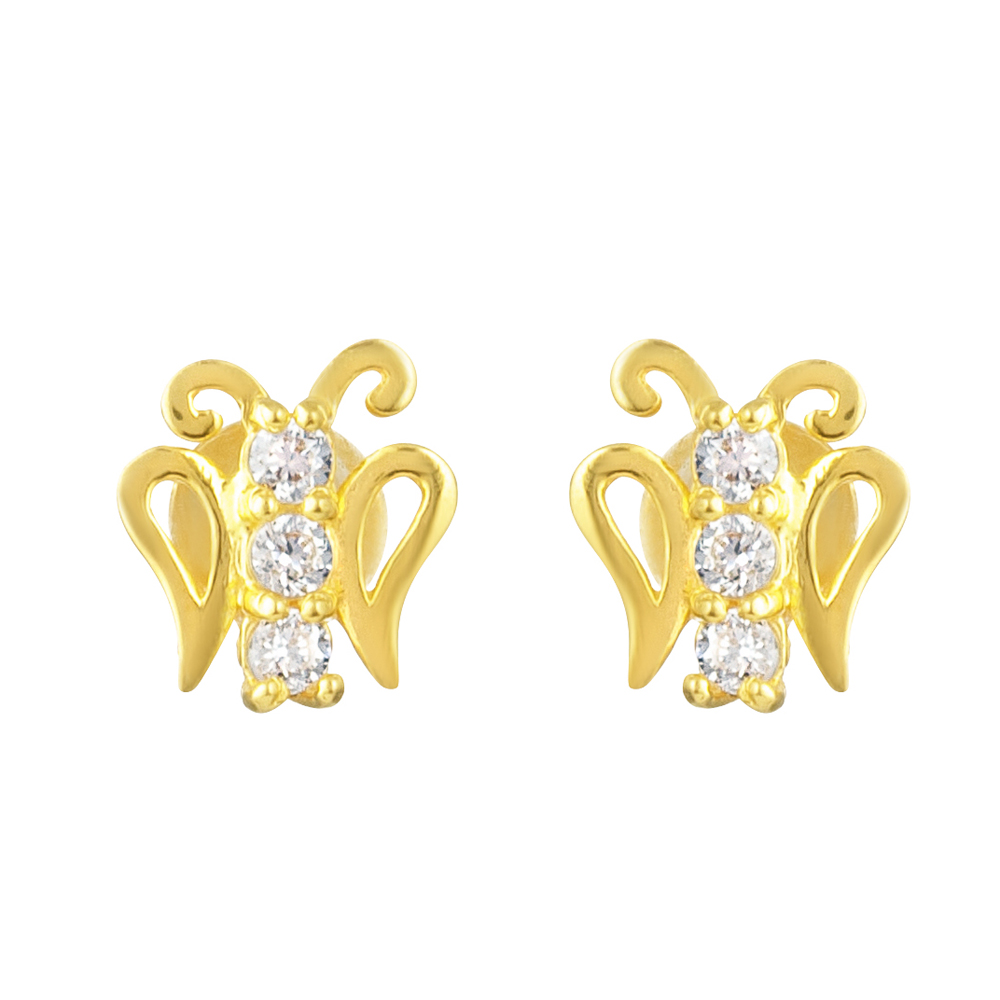 22ct Gold Light With White CZ Stone Stud Earring YGER315