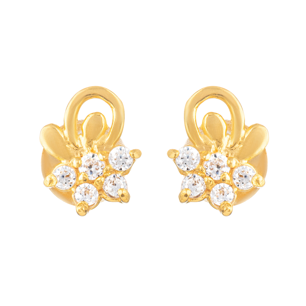 22ct Gold Light With White CZ Stone Stud Earring YGER316