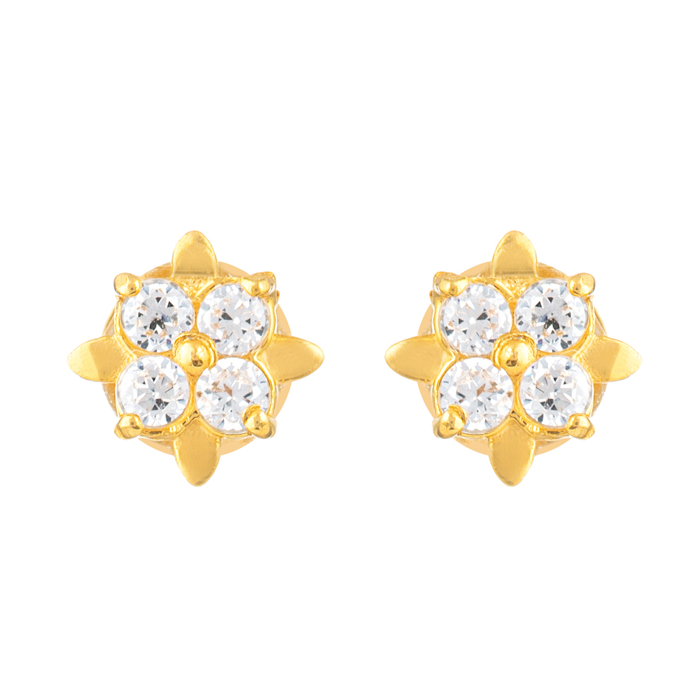 22ct Gold Light Square Shape With White CZ Stone Stud Earring YGER318