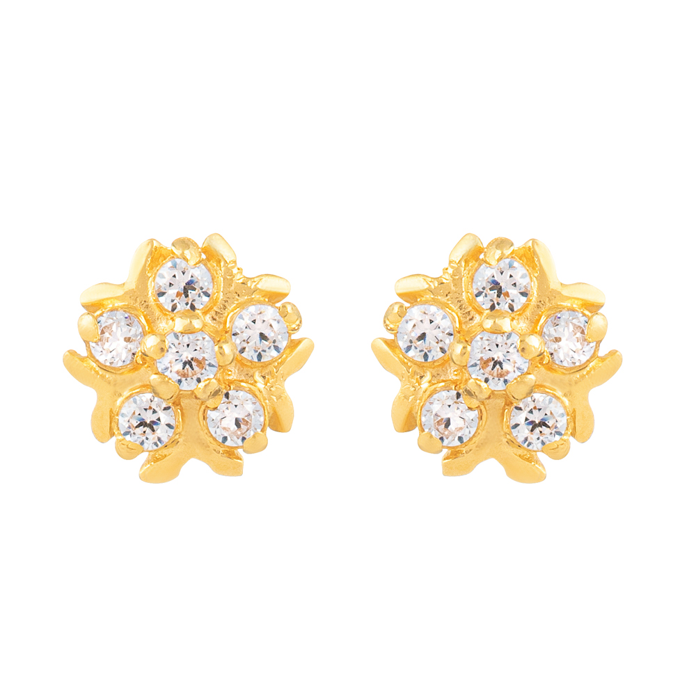 22ct Gold Light With White CZ Stone Stud Earring YGER319