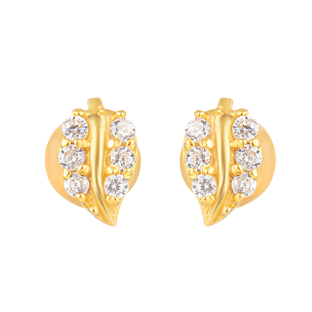 22ct Gold Light With White CZ Stone Stud Earring YGER320