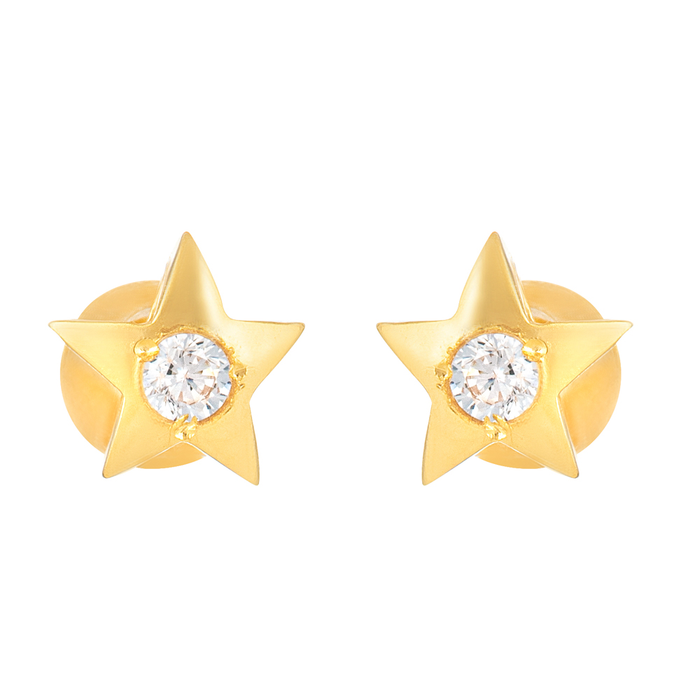 22ct Gold Light With White CZ Stone Stud Earring YGER321