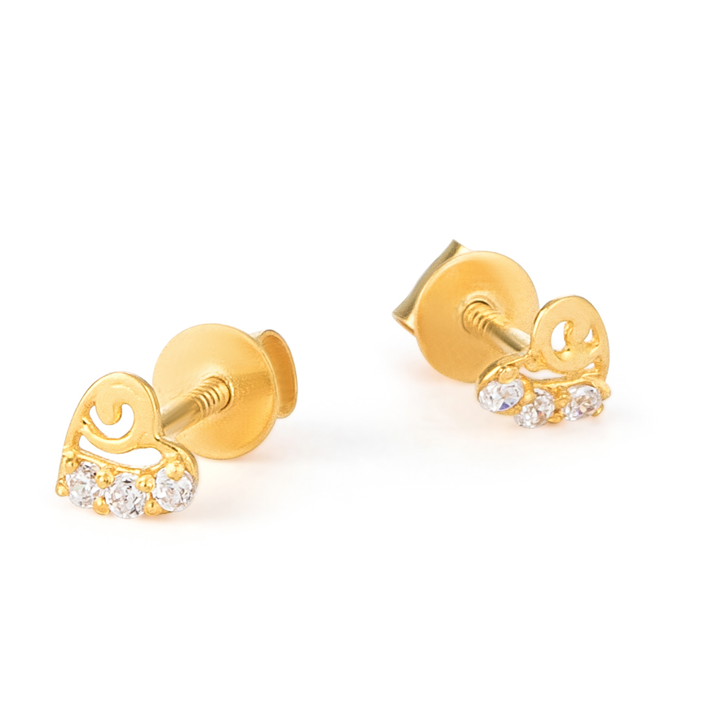 22ct Gold Light Heart Shape With White CZ Stone Stud Earring YGER322