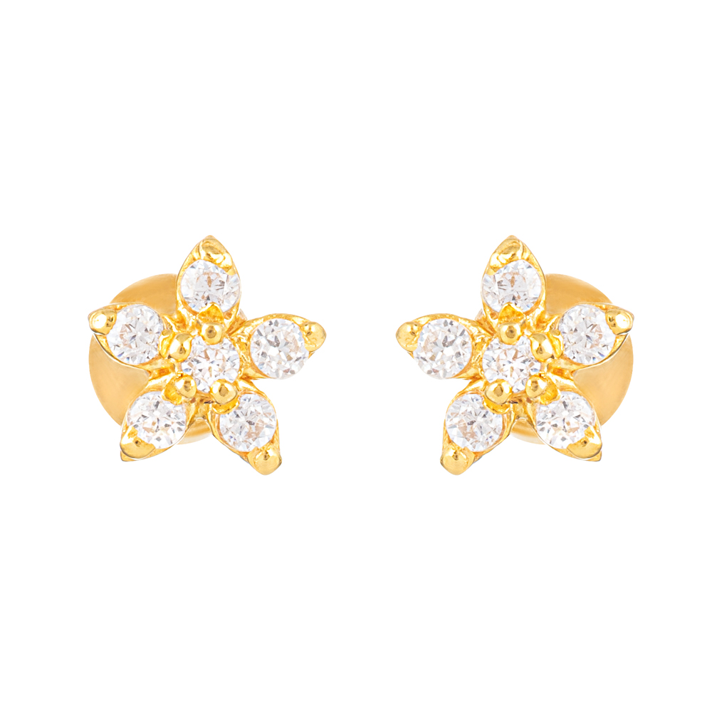 22ct Gold Light Flower Shape With White CZ Stone Stud Earring YGER323