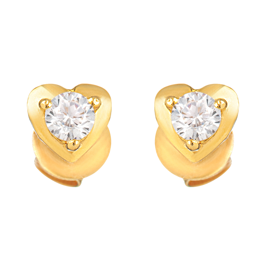 22ct Gold Light Heart Shape With White CZ Stone Stud Earring YGER324