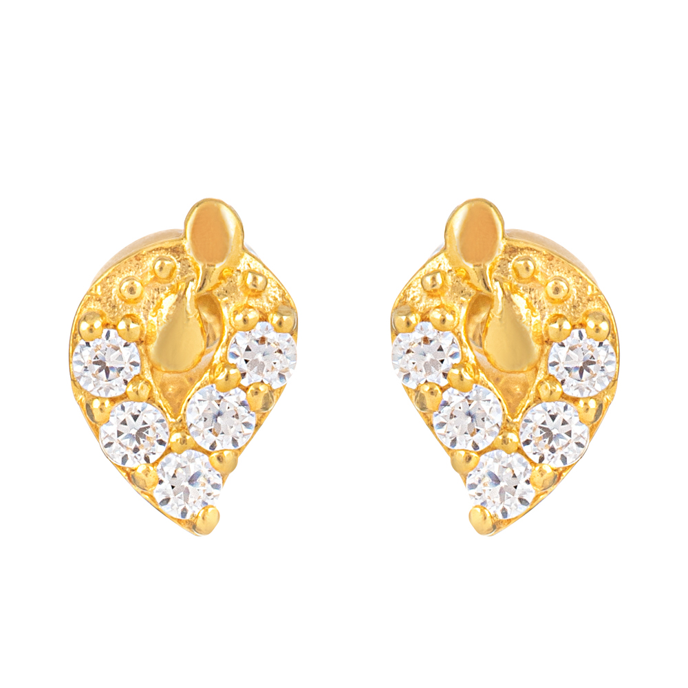 22ct Gold Light With White CZ Stone Stud Earring YGER325