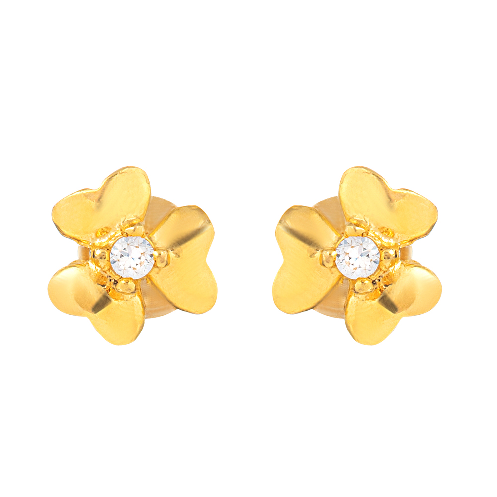 22ct Gold Light With White CZ Stone Stud Earring YGER334