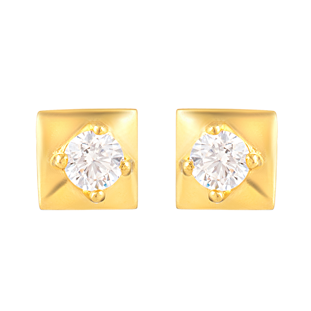 22ct Gold Light Square Shape With White CZ Stone Stud Earring YGER332