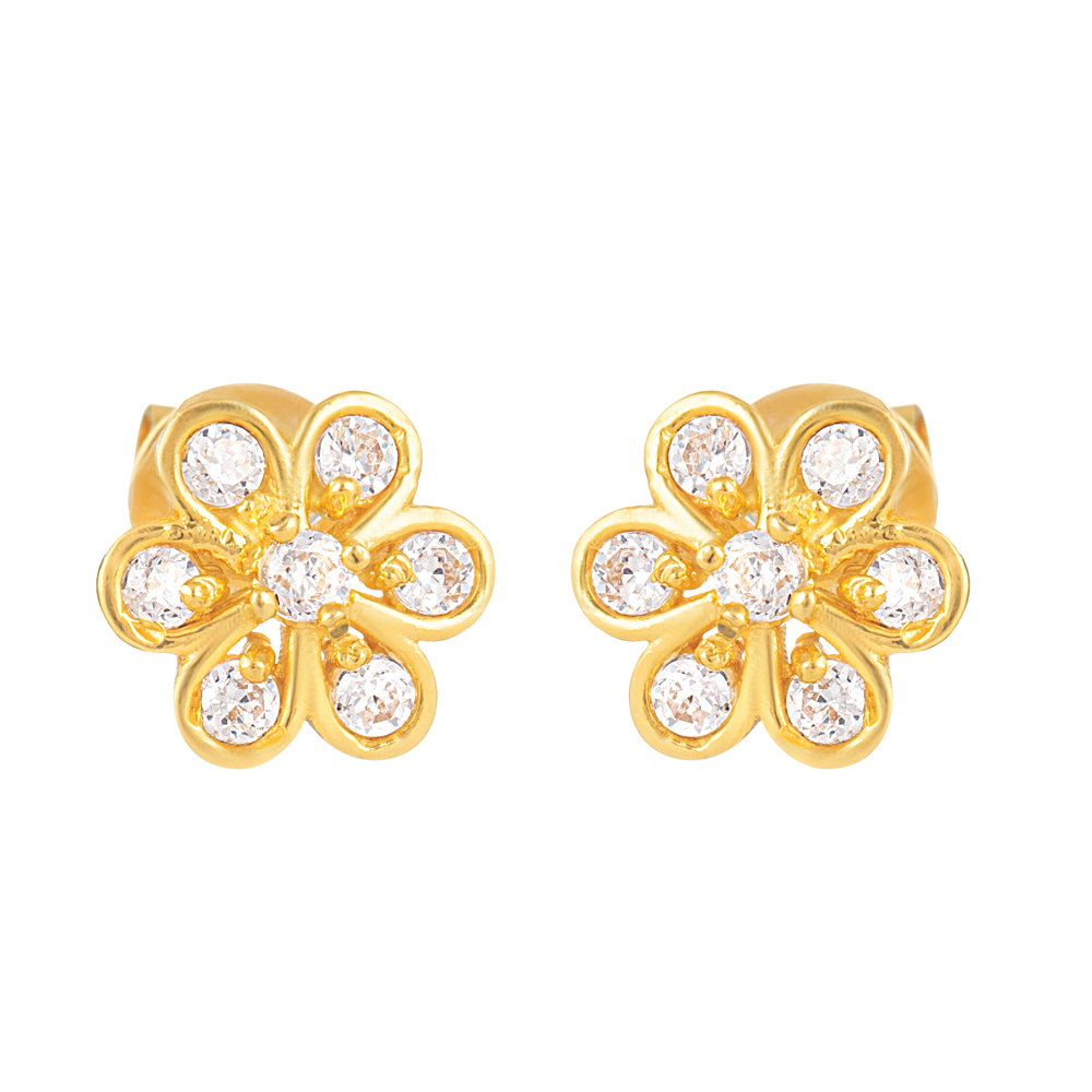 22ct Gold Light Flower Shape With White CZ Stone Stud Earring YGER330