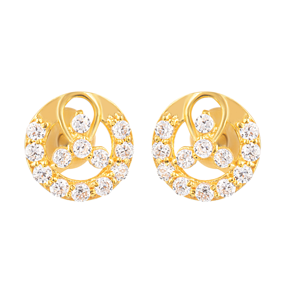 22ct Gold Light Round Shape With White CZ Stone Stud Earring YGER326