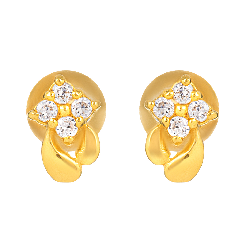 22ct Gold Light With White CZ Stone Stud Earring YGER333