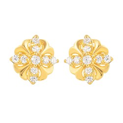 22ct Gold Light Round Shape With White CZ Stone Stud Earring YGER327