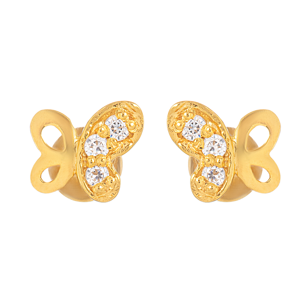 22ct Gold Light With White CZ Stone Stud Earring YGER328