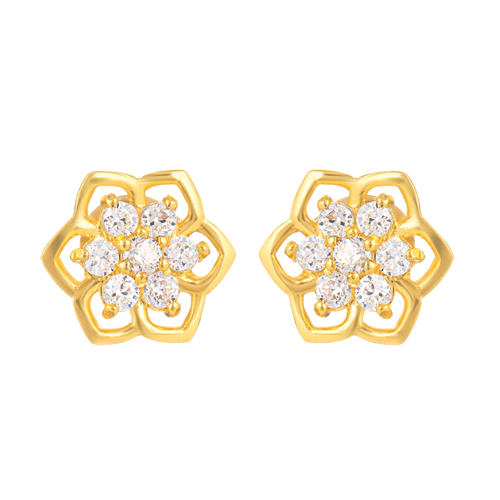 22ct Gold Light Flower Shape With White CZ Stone Stud Earring YGER329