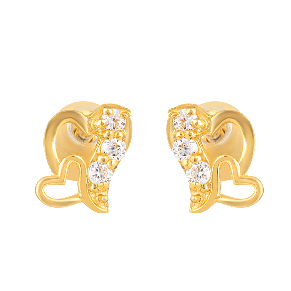 22ct Gold Light With White CZ Stone Stud Earring YGER331