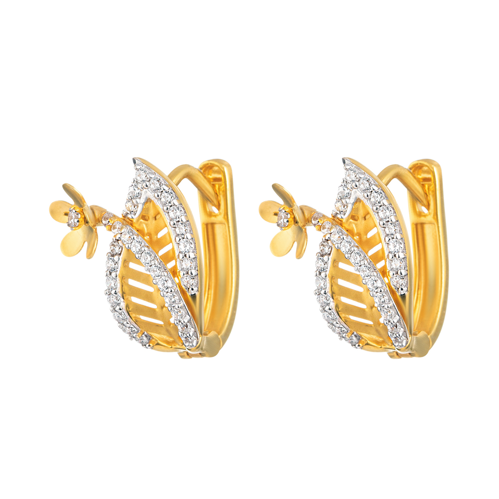 22ct Gold Medium with CZ bali Earring YGER295