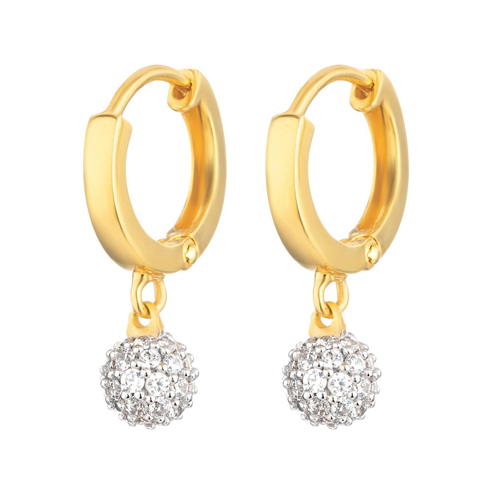 22ct Gold Medium White CZ Stone Ball Bali Earring YGER019