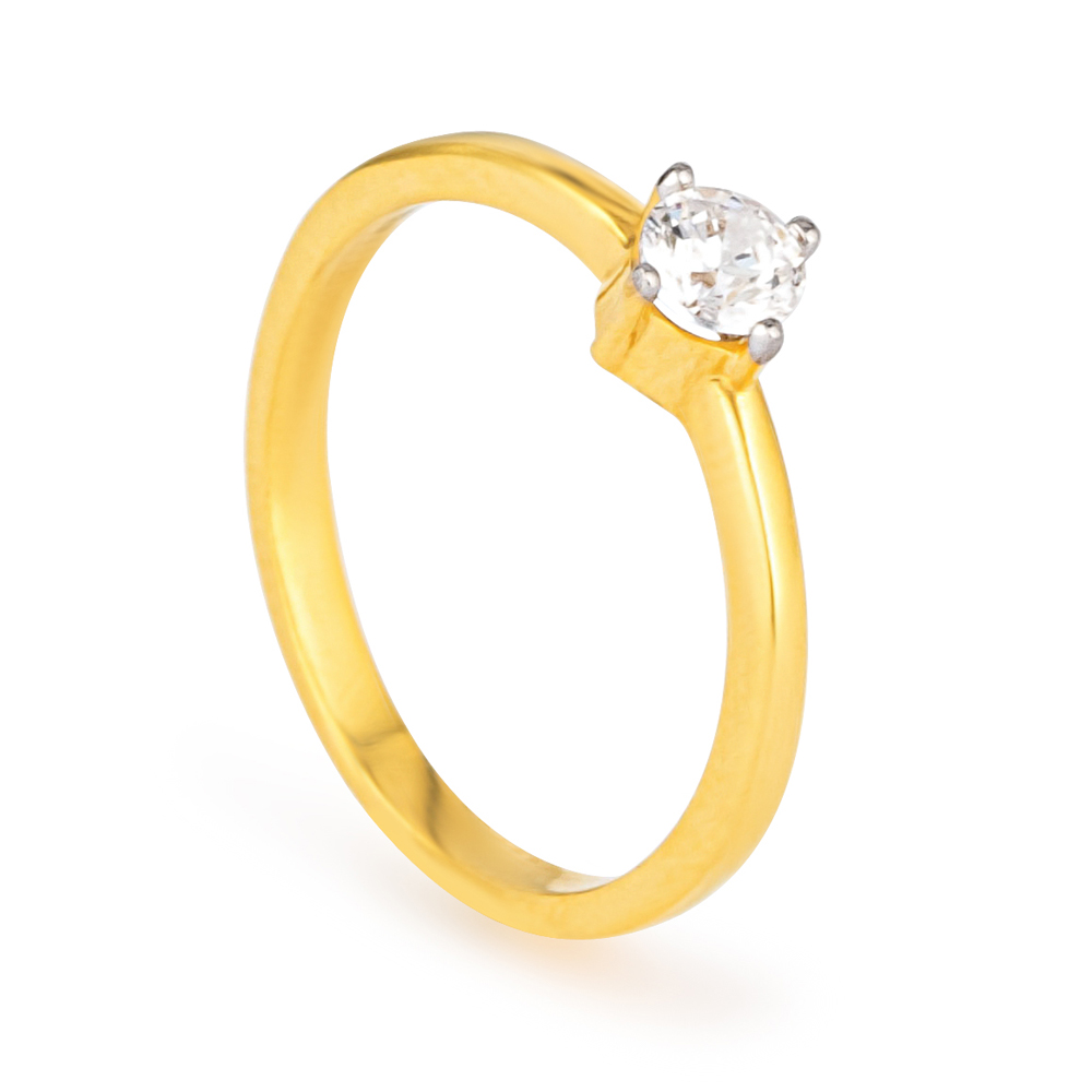 22ct Gold Light Single Stone (Round Shape) Ring YGLR250