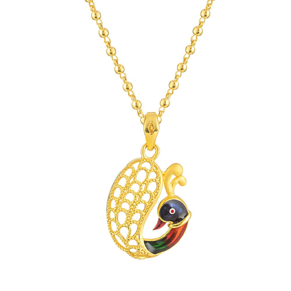 22ct Gold Light Peacock with Enamel Design Pendant YGPN008