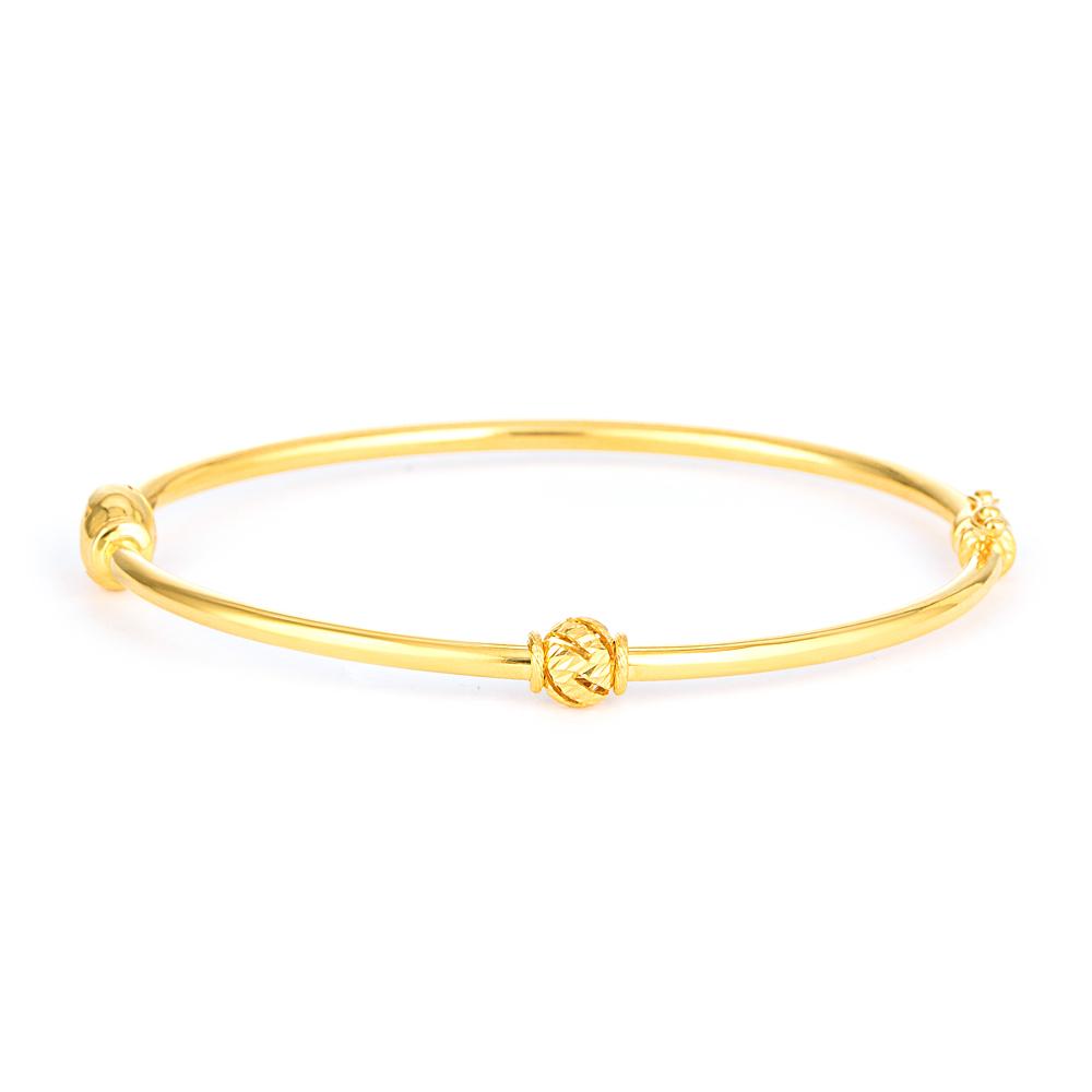 Glow 22ct Medium Bangle Bracelet Style/1 Ball Bangle GLBG014