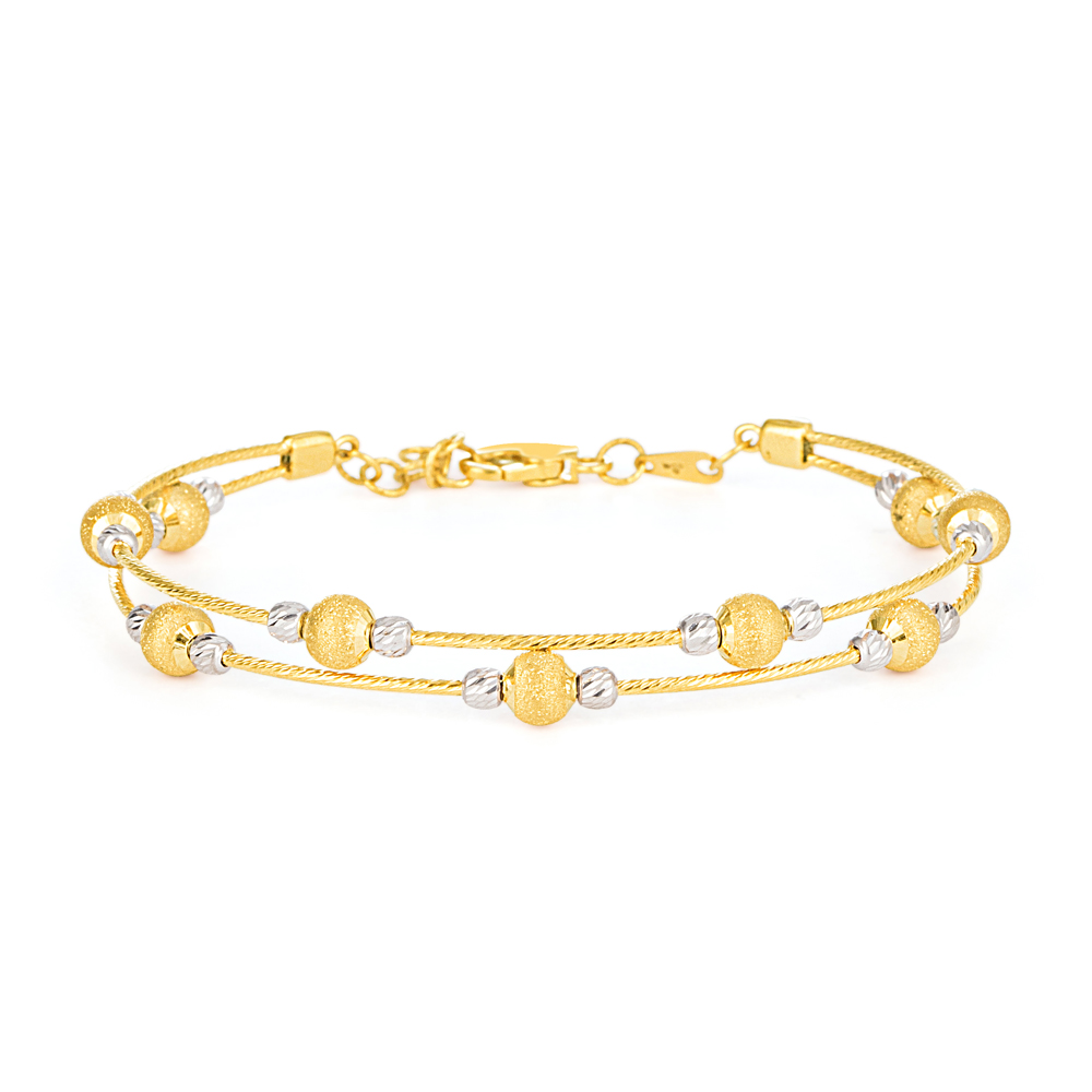 22ct Gold Ladies Bracelet Wired Ball YGBR159
