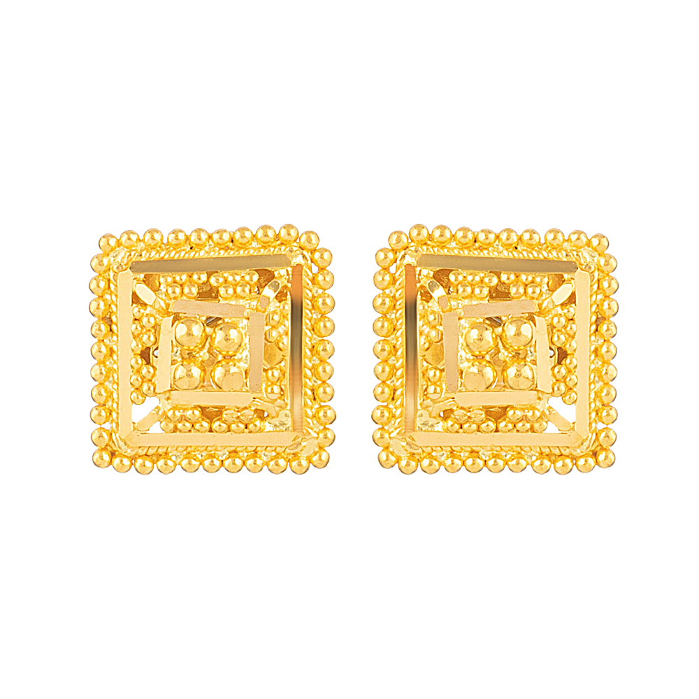 Jali 22ct Light Square Shape Jali Stud 15-20 mm Earring JLER643