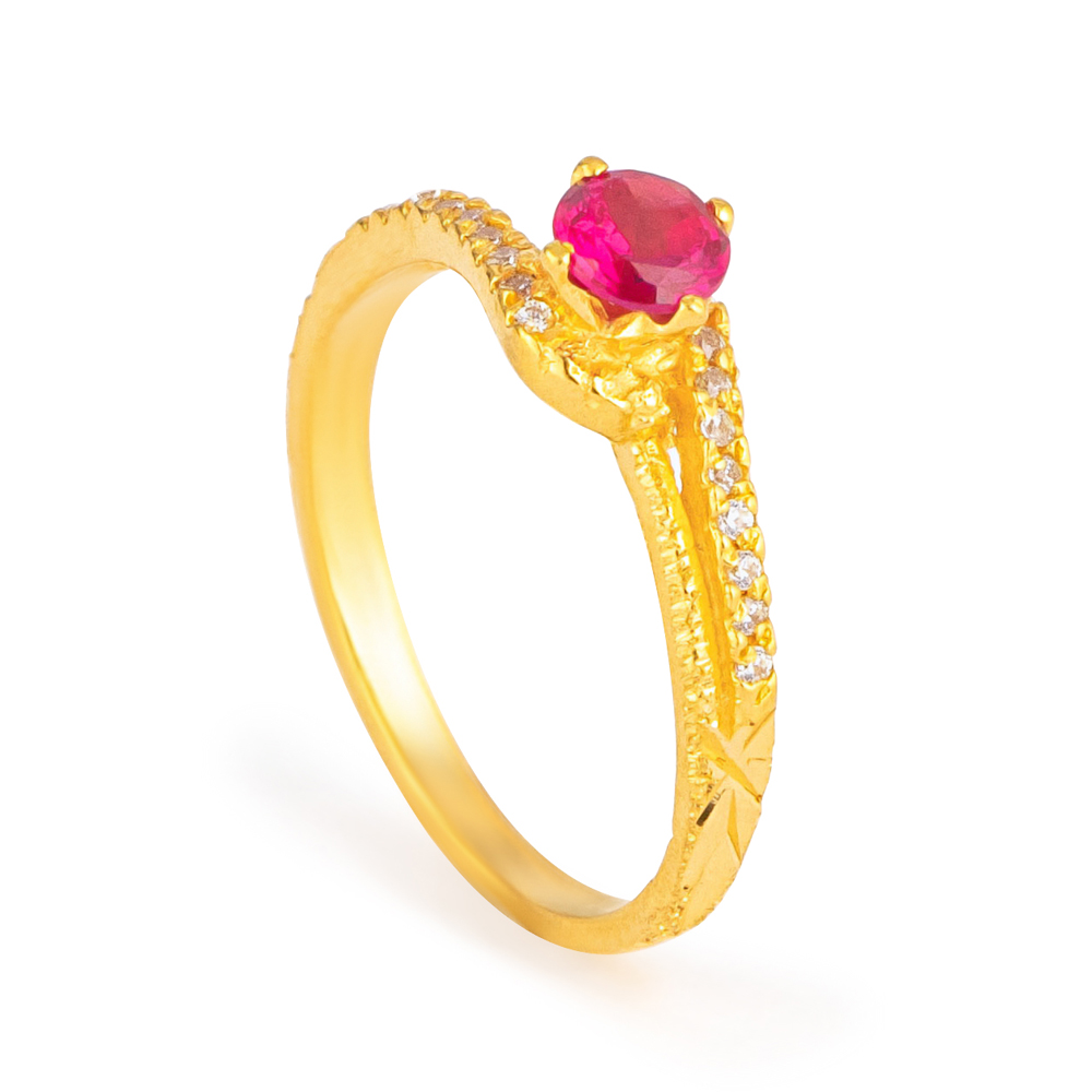 22ct Gold Light Single Stone (Round Shape) Ring YGLR265