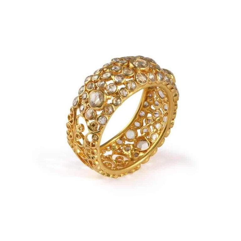 Diya Collection 22ct Gold Ring 4.7gm Uncut Polki Diamond 1.55ct