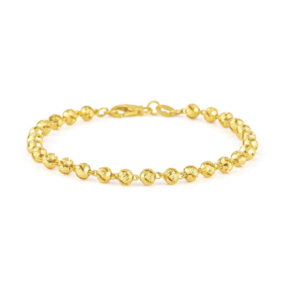 Glow 22ct Gold Medium Beads Ladies Bracelet GLBR015
