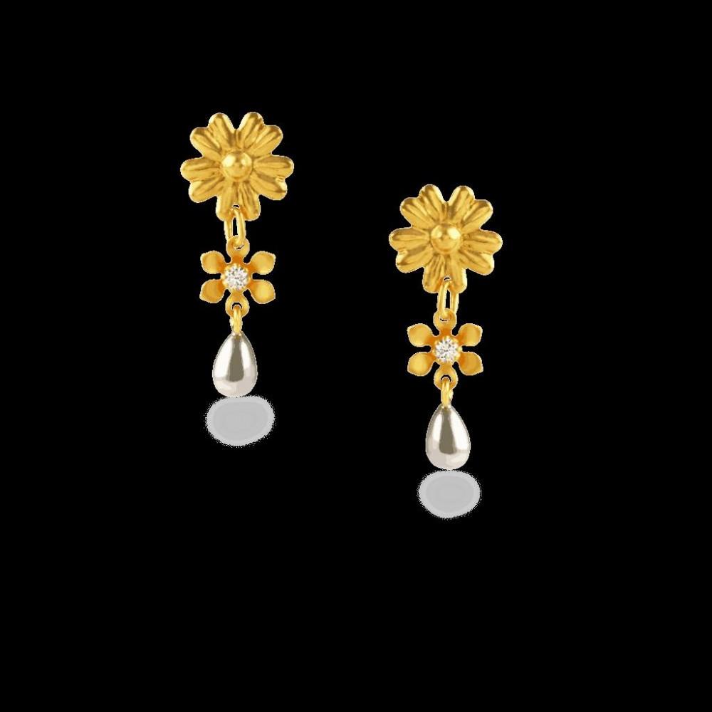 22ct Gold Light White CZ Stone Flat Earring YGER077