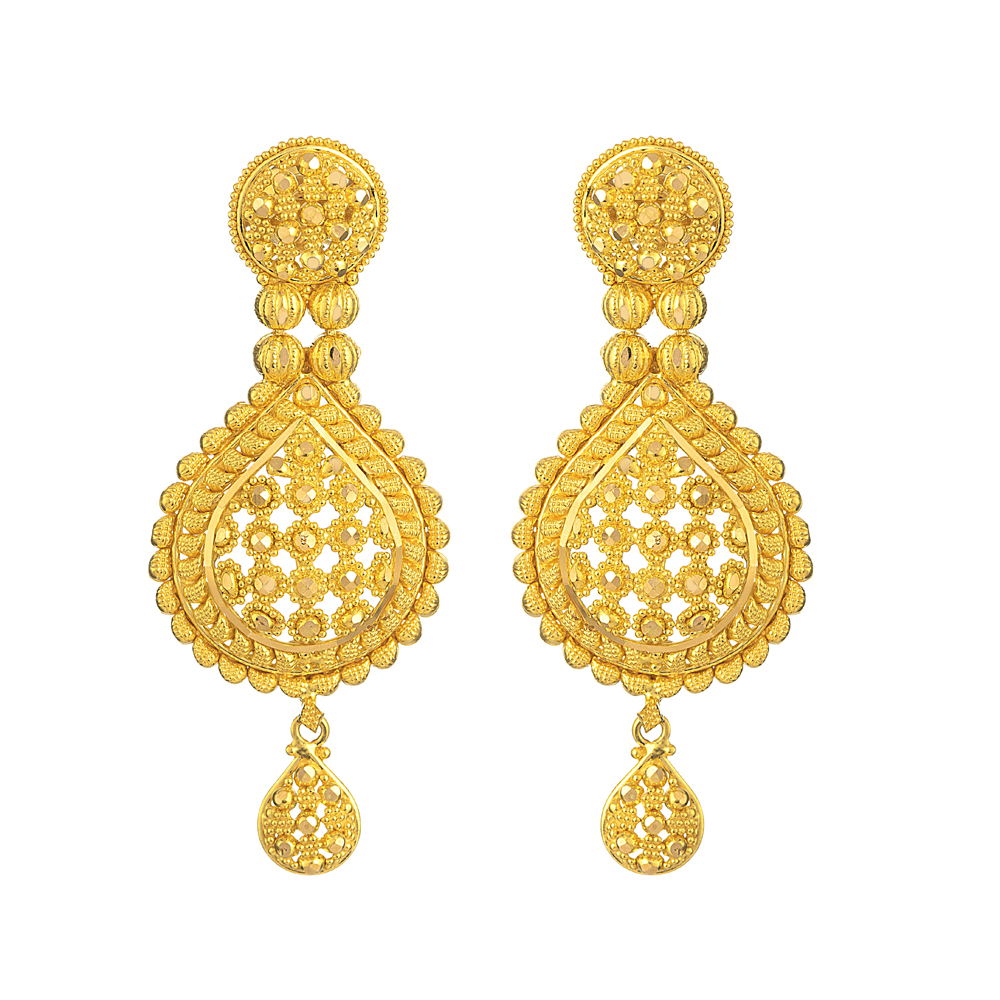 Jali Collection 22ct Gold Earring-26370