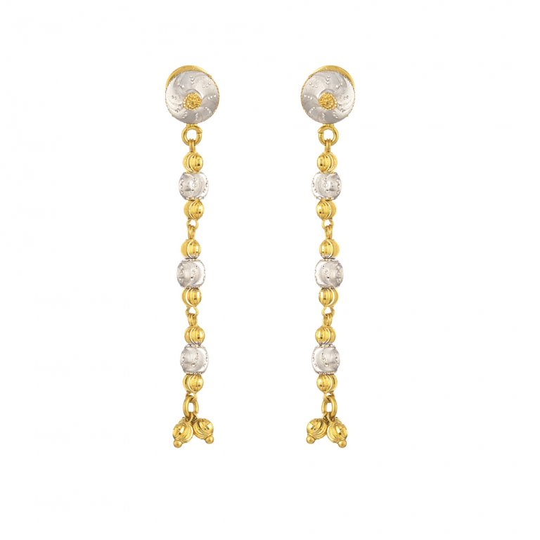 22ct Gold Light Diamond Cut Ball Drop Earring YGER340