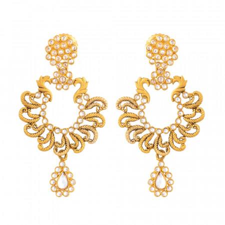 Anusha Earrings with Synthetic Polki Stones