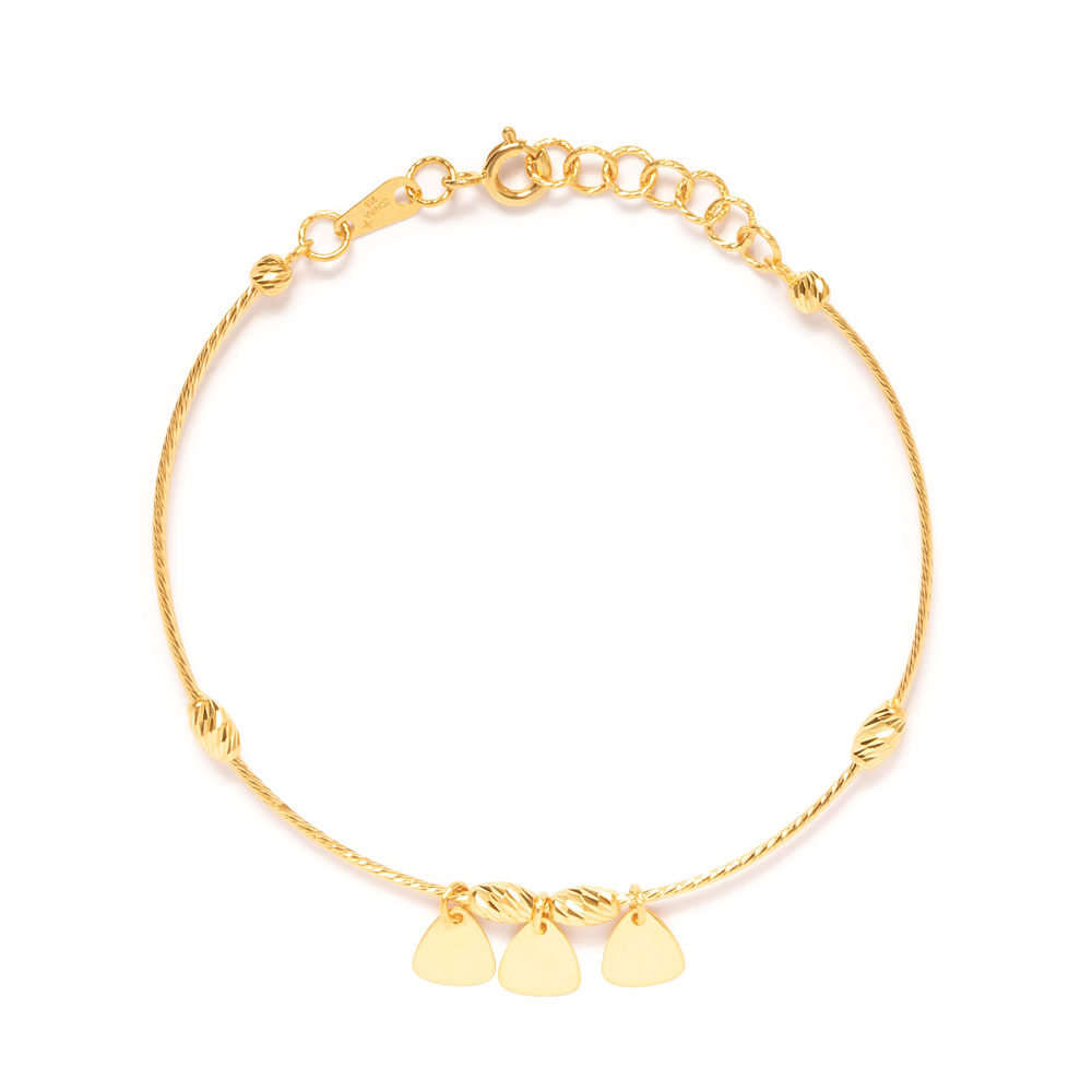 22ct Gold Ladies Leaf Charm Banglet 33692